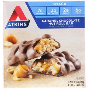 Atkins, アドバンテージ, キャラメルチョコレートナッツロール, 5 本, 各 1.6  オンス (44 g)